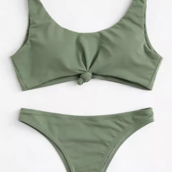 4b6355fc1e161 SHEIN Swim   Olive Green Knot Bikini Set Never Worn   Poshmark